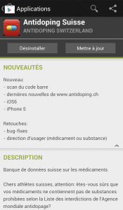 Mise à jour de l'application anti-doping suisse