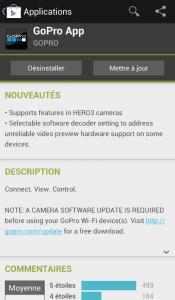 Application GoPro pour Android mise à jour
